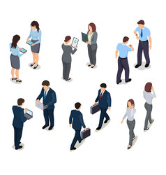 Isometric business people 3d men and women crowd vector