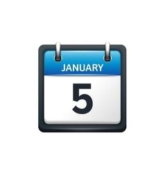January 5 Calendar icon flat vector