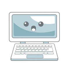 kawaii laptop computer device technology wireless vector image