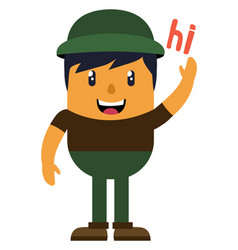 man with green hat on white background vector image