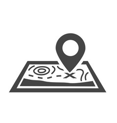 Map pin bold black silhouette icon isolated vector