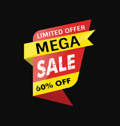 mega sale banner black background vector image