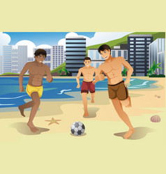 Men playing soccer on the beach vector
