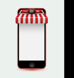 Mobile phone Mobile store concept with awning vector image
