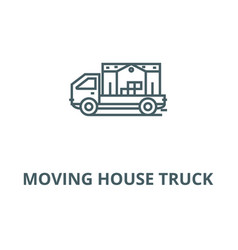 Moving house truck line icon linear vector