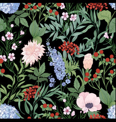 natural seamless pattern with blooming wildflowers vector image