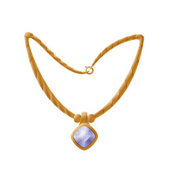Necklace with huge gemstone golden female vector
