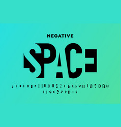 Negative space style font vector