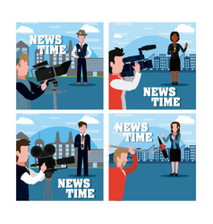 news and jounalism cards vector image