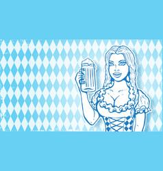 Oktoberfest girl with beer vector