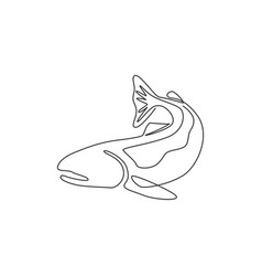 one single line drawing big salmon for logo vector image
