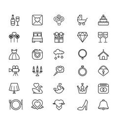 Outline web icon set - wedding vector