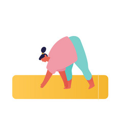 overweight girl at home stand on mat in yoga asana vector image