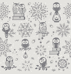 owl seamless winter vector image