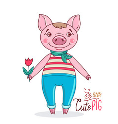 pig in a cartoon style holding a tulip in his hand vector image