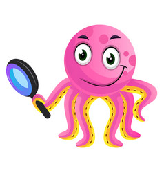 pink octopus researching on white background vector image