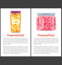 preserved berry in glass jars set icon vector image