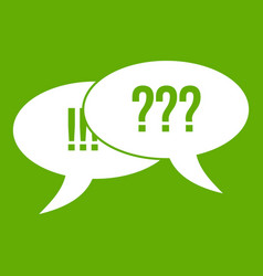question and exclamation icon green vector image