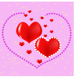 red hearts love postcard vector image