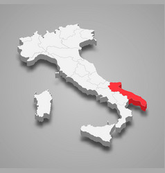 Region location within italy 3d map vector