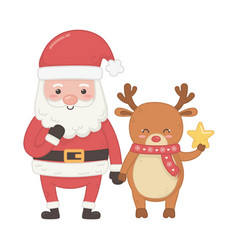 santa and reindeer with star decoration merry vector image