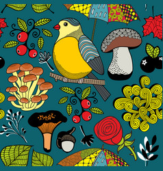 seamless pattern with autumn forest and bird vector image
