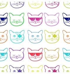 Seamless pattern with cute cats animal Children vector