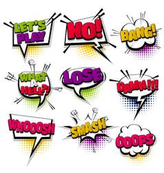 set hand drawn effects comic speech bubbles vector image