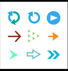 set of colored arrow icons vector image
