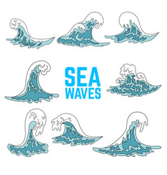 set sea waves design elements for poster card vector image