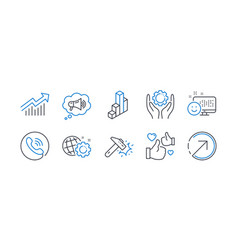 Set technology icons such as like hammer blow vector