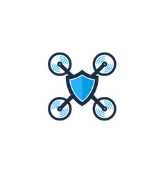 shield drone logo icon design vector image