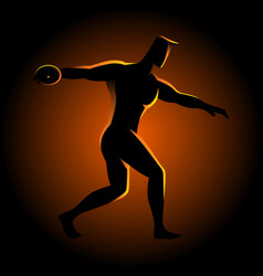 silhouette of a discus throw athlete vector image