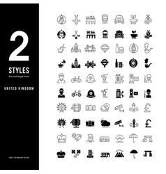 simple line icons united kingdom vector image