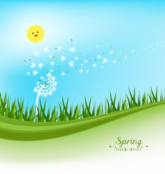 Spring banners with dandelion and blue sky vector