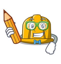 student construction helmet character cartoon vector image