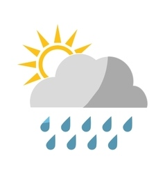 sun and cloud with rainydrops vector image