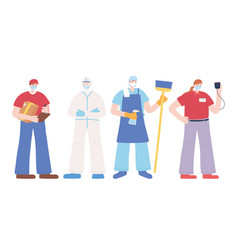 Thank you essential workers concept employees vector