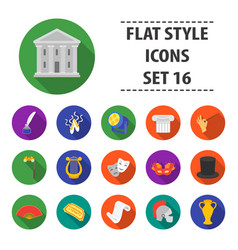 theater set icons in flat style big collection vector image