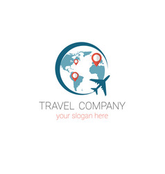 travel agency logo template tourism company banner vector image