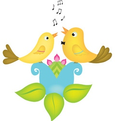 Two little birds singing vector