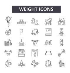 Weight line icons signs set linear vector