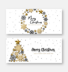 white merry christmas banner background vector image