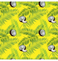 Yellow coconut seamless pattern Coconut palm vector image