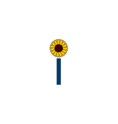 yellow sunflower petals with letter i logo icon vector image