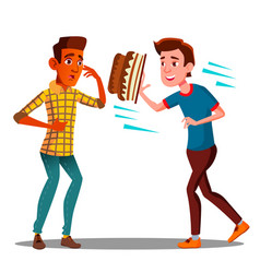 young guy throwing a cake in the face of a friend vector image