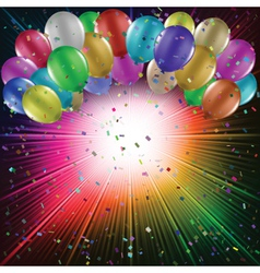 Balloons on starburst background vector image vector image