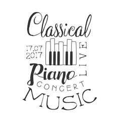 classical piano live music concert black and white vector image