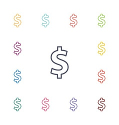 dollar flat icons set vector image vector image