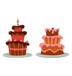 Chocolate cake with cherry and candle on top vector